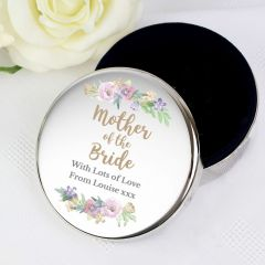 Personalised Mother of the Bride 'Floral Watercolour Wedding' Design Round Trinket Box