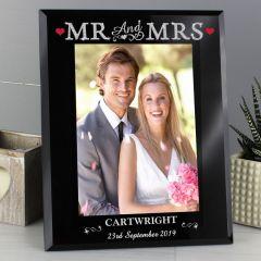 Personalised Bling Mr & Mrs Black Glass Photo Frame 5x7
