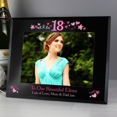 Personalised 18th Birthday Black Glass Frame 7x5