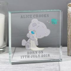 Personalised Tiny Tatty Teddy Bear Large Christening Crystal Token