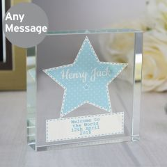 Personalised Stitch & Dot Design Baby Boy Large Crystal Token