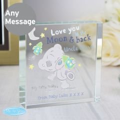 Personalised Tiny Tatty Teddy Bear To the Moon & Back Large Crystal Token