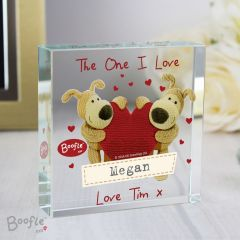 Personalised Boofle Bear Shared Heart Large Crystal Token