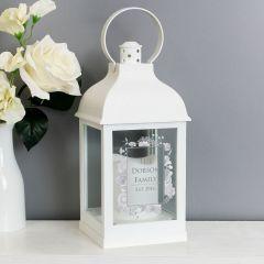 Personalised Soft Floral Design White Lantern