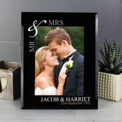 Personalised Silver Couples Black Glass Photo Frame 7x5