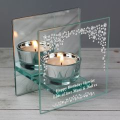 Personalised Diamante Mirrored Glass Tea Light Candle Holder Gift