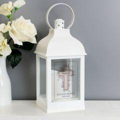 Personalised Floral Cross White Lantern