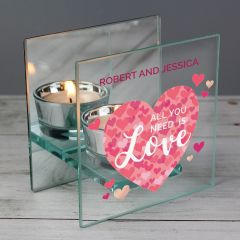 Personalised 'All You Need is Love' Confetti Hearts Glass Tea Light Candle Holder Gift