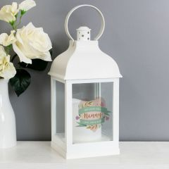 Personalised Floral Mother's Day White Lantern