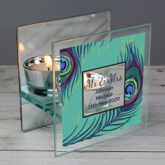 Personalised Peacock Mirrored Glass Tea Light Candle Holder Gift