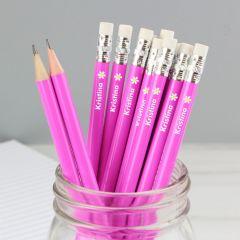 Personalised Flower Motif Pink Pencils