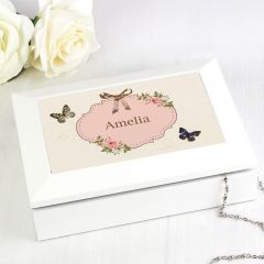 Personalised Delicate Butterfly Design White Jewellery Box