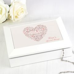 Personalised I Love You Design White Jewellery Box