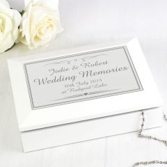 Personalised Silver Elegant Wooden Design Jewellery Box