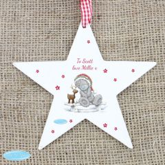 Me To You Personalised Reindeer Wooden Star Decoration