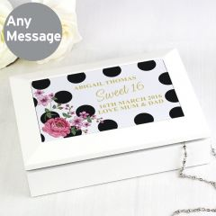 Personalised Floral Dot Design Jewellery Box