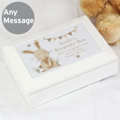 Personalised Hessian Rabbit Design Wooden Jewellery Box