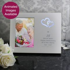 Personalised Silver Hearts Light Up Frame 6x4