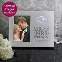 Personalised Hearts Mr & Mrs Light Up Frame 6x4