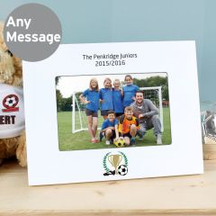 Personalised Football Landscape White Wooden Photo Frame 6x4