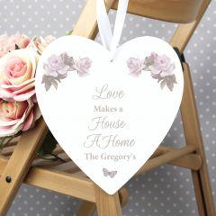 Personalised Vintage Design Floral 22cm Large Wooden Heart Decoration