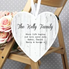 Personalised Rustic 22cm Large Wooden Heart Decoration
