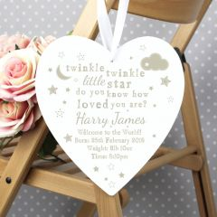Personalised Twinkle Twinkle Design 22cm Large Wooden Heart Decoration