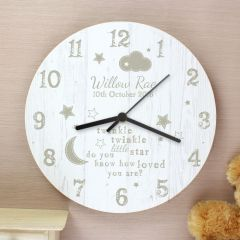 Personalised Twinkle Twinkle Design Shabby Chic Large Wooden Clock