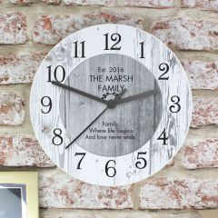 Personalised Add Any Message Shabby Chic Large Wooden Clock