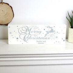 Personalised Silver Reindeer Wooden Block Sign
