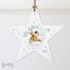 Personalised Boofle Bear Its a Boy Wooden Star Decoration