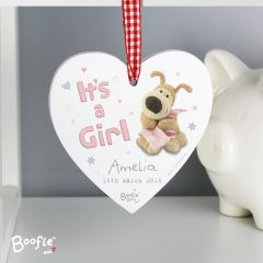 Personalised Boofle Bear It's a Girl Wooden Heart Decoration
