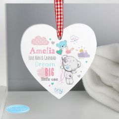 Personalised Tiny Tatty Teddy Bear Dream Big Pink Wooden Heart Decoration