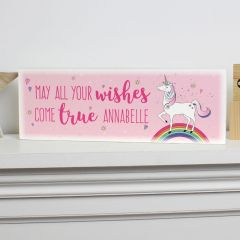 Personalised Unicorn Design Wooden Block Sign