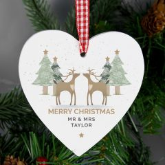 Personalised Reindeer Couple Wooden Heart Decoration
