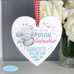 Me To You Personalised Godmother Wooden Heart Decoration