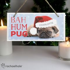 Personalised Christmas Bah Hum Pug Wooden Sign by Rachael Hale