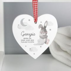 Personalised Baby Bunny Rabbit Wooden Heart Decoration