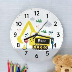 Personalised Digger Design Wooden Clock