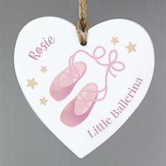 Personalised Swan Lake Design Ballet Wooden Heart Decoration