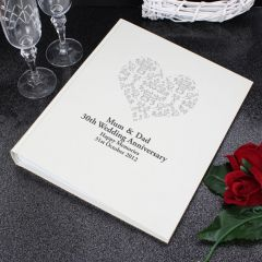 Personalised Silver Damask Heart Traditional Photo Album
