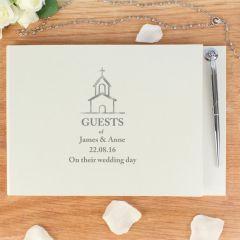 Personalised Hardback Guest Book & Pen Church Design
