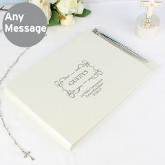 Personalised Hardback Guest Book & Pen Swirl Design