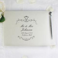 Personalised Ornate Swirl Design Hardback Guest Book & Pen