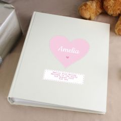 Personalised Stitch & Dot Design Baby Girl Album with Sleeves