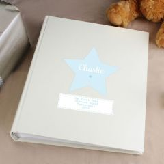 Personalised Stitch & Dot Design Baby Boy Album with Sleeves