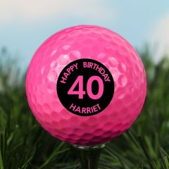 Personalised Age Pink Golf Ball