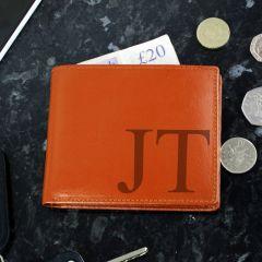 Personalised Big Initials Tan Brown Leather Wallet