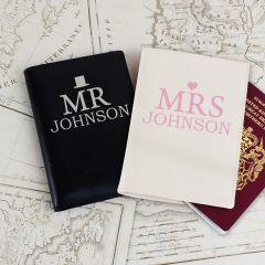 Personalised Mr & Mrs Design Passport Holders Set