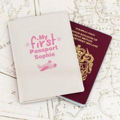 Personalised My First Cream Design Passport Holder